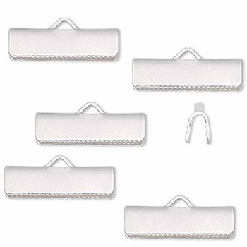 10 Ribbon Crimps  silver plated brass  19x5mm smooth rectangle bracelet Endings