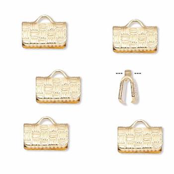 10 Ribbon Crimps  gold plated brass  10x6mm textured rectangle bracelet Endings
