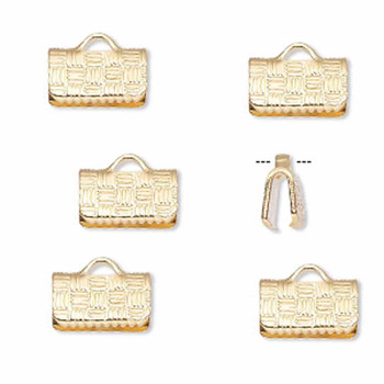 10 Ribbon Crimps  gold plated brass  10x6mm textured rectangle bracelet Endings