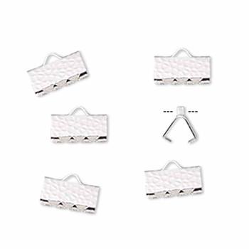 10 Ribbon Crimps  silver plated brass  10x5mm hammered rectangle bracelet Endings
