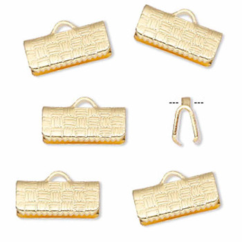 10 Ribbon Crimps  gold plated brass  13x6mm textured rectangle bracelet Endings