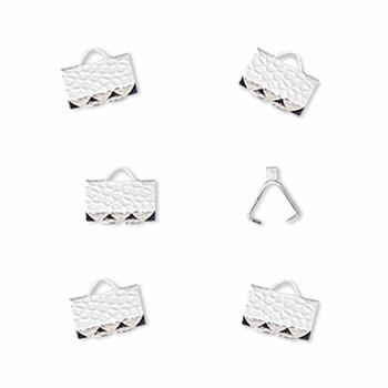 10 Ribbon Crimps  silver plated brass  8x5mm hammered rectangle bracelet Endings