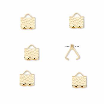 10 Ribbon Crimps  gold plated brass  6x5mm hammered rectangle bracelet Endings