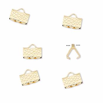 10 Ribbon Crimps  gold plated brass  8x5mm hammered rectangle bracelet Endings