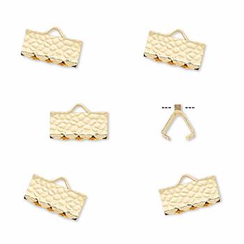 10 Ribbon Crimps  gold plated brass  10x5mm hammered rectangle bracelet Endings