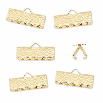10 Ribbon Crimps  gold plated brass  14x5mm hammered rectangle bracelet Endings