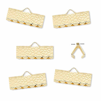 10 Ribbon Crimps  gold plated brass  14x5mm hammered rectangle bracelet Endings