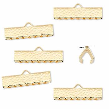 10 Ribbon Crimps  gold plated brass  20x5mm hammered rectangle bracelet Endings