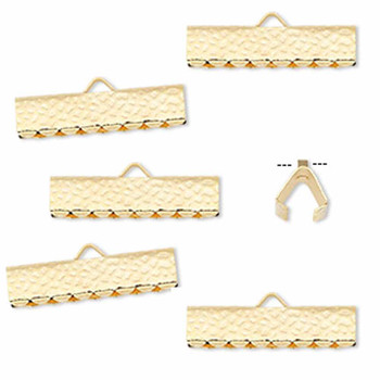 10 Ribbon Crimps  gold plated brass  20x5mm hammered rectangle bracelet Endings