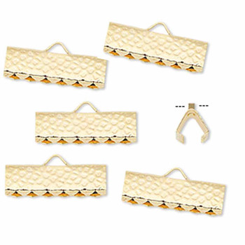 10 Ribbon Crimps  gold plated brass  16x5mm hammered rectangle bracelet Endings