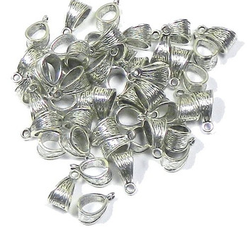 50 Pendant Bails Bead Hangers Antiqued Silver 5.5mm Hole 14x7mm