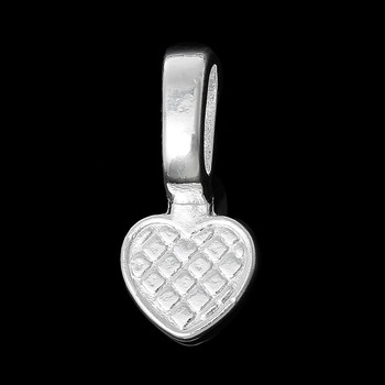 5 Glue On Heart Bails Pendant Hanger Silver Plated 22x16mm