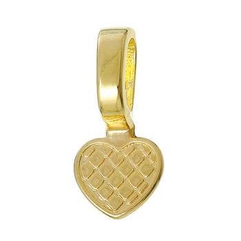 5 Glue On Bails Pendant Hanger Heart Gold Plated 22x10mm