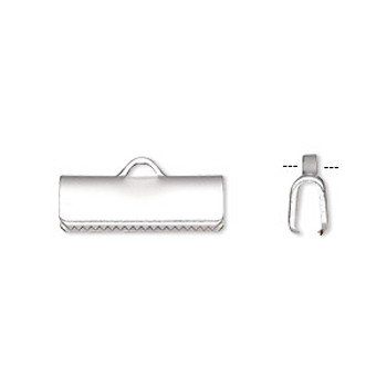 10 Ribbon crimp end, silver-plated brass, 16x5mm smooth rectangle