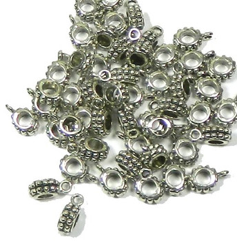 5 Pendant Bails Bead Hangers Antiqued Silver 3mm Hole 13x8mm Rb03344