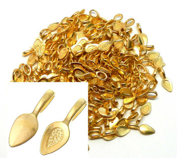 5 Glue On Bails Pendant Hanger Gold Tone Plated 21x8mm Rb33918