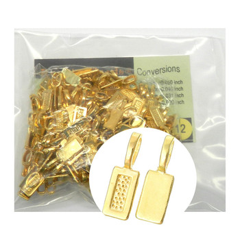 5 Glue On Bails Pendant Hanger Shiny Gold Plated 21x7mm Rb34158