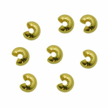 12 Crimp Bead Cover 5mm Open size Brassy Gold Plate