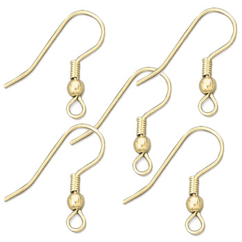 10 (5 Pair) Earwire 22mm Fish Fish Hook Hg1 Gold Tone