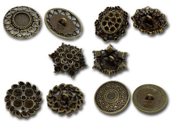 Mixed Antique Brass Fillagree Sewing Metal Buttons 1 To 1-1/4 Inch 23-28mm, Sold Per Pack Of 50 Rb08921