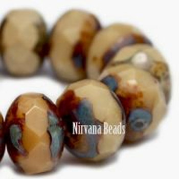 8x6mm Rondelle Beads Carmel Picasso Glass 24 Beads