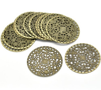 48 Antique Brass Filigree Flower Focal Components 41mm 1-5/8 Inch Findings Rb16292