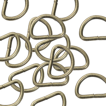 "50pc Iron Based Alloy D Rings Fit Clothing Bag Making Antique Bronze 30mm(1 1/8"") x 19mm( 6/8"")"