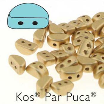 Kos Par Puca 2-hole half moon shape 6x3mm Light Gold Matte 30 Czech Glass Beads