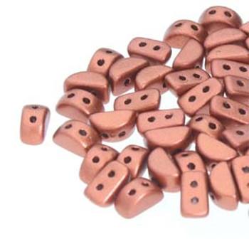 Kos Par Puca 2-hole half moon shape 6x3mm Bronze Red Matte 30 Czech Glass Beads