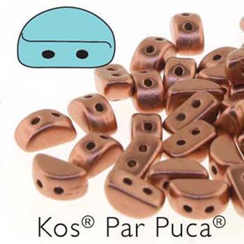 Kos Par Puca 2-hole half moon shape 6x3mm Copper Gold Matte 30 Czech Glass Beads