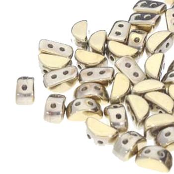 Kos Par Puca 2-hole half moon shape 6x3mm Full Dorado-30 Czech Glass Beads
