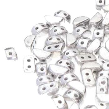 Kos Par Puca 2-hole half moon shape 6x3mm Argentees 30 Czech Glass Beads