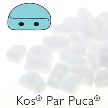 Kos Par Puca 2-hole half moon shape 6x3mm Opaque White-30 Czech Glass Beads