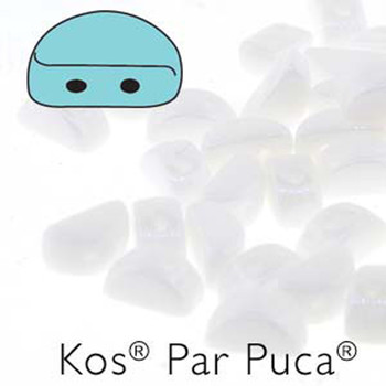 Kos Par Puca 2-hole half moon shape 6x3mm Opaque White Luster 30 Czech Glass Beads