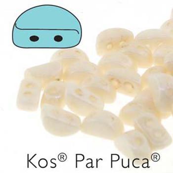 Kos Par Puca 2-hole half moon shape 6x3mm Opaque Beige Luster 30 Czech Glass Beads