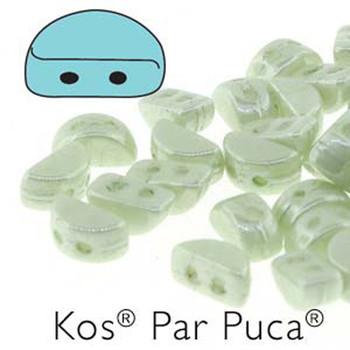 Kos Par Puca 2-hole half moon shape 6x3mm Opaque Lt Green Luster-30 Czech Glass Beads