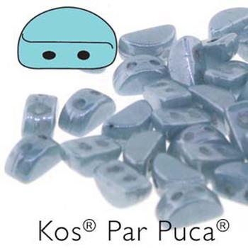 Kos Par Puca 2-hole half moon shape 6x3mm Opaque Blue Grey 30 Czech Glass Beads