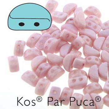 Kos Par Puca 2-hole half moon shape 6x3mm Opaque Lt Rose 30 Czech Glass Beads