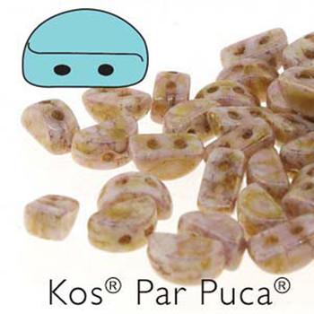 Kos Par Puca 2-hole half moon shape 6x3mm Opq Mix Rose/Gold Ceramic-30 Czech Glass Beads