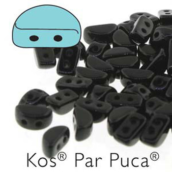 Kos Par Puca 2-hole half moon shape 6x3mm Jet 30 Czech Glass Beads