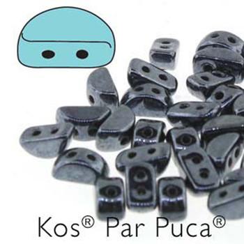 Kos Par Puca 2-hole half moon shape 6x3mm Jet Hematite 30 Czech Glass Beads
