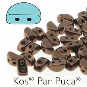 Kos Par Puca 2-hole half moon shape 6x3mm Dark Bronze 30 Czech Glass Beads
