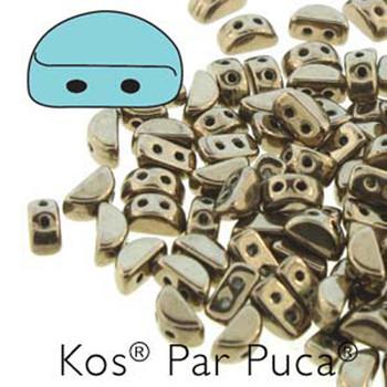 Kos Par Puca 2-hole half moon shape 6x3mm Dark Gold Bronze 30 Czech Glass Beads