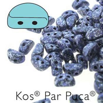 Kos Par Puca 2-hole half moon shape 6x3mm Tweedy Blue-30 Czech Glass Beads