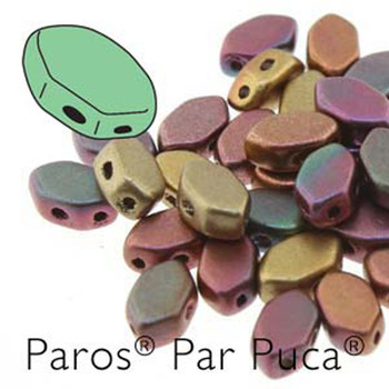 Paros Par Puca 2-hole hexagon shape 7x4mm Yellow Gold Metallic Iris  30 Czech Glass Beads