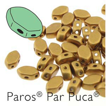 Paros Par Puca 2-hole hexagon shape 7x4mm Bronze Gold Matte  30 Czech Glass Beads