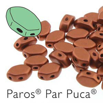 Paros Par Puca 2-hole hexagon shape 7x4mm Bronze Red Matte  30 Czech Glass Beads