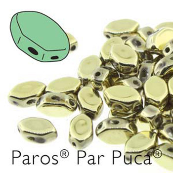 Paros Par Puca 2-hole hexagon shape 7x4mm Full Dorado 30 Czech Glass Beads