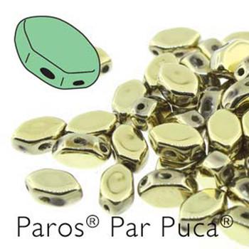 Paros Par Puca 2-hole hexagon shape 7x4mm Full Dorado 30 Czech Glass Beads
