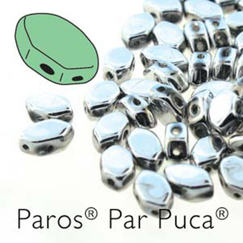Paros Par Puca 2-hole hexagon shape 7x4mm Argentees  30 Czech Glass Beads